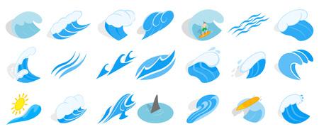 Ocean wave icon set, isometric style Çizim