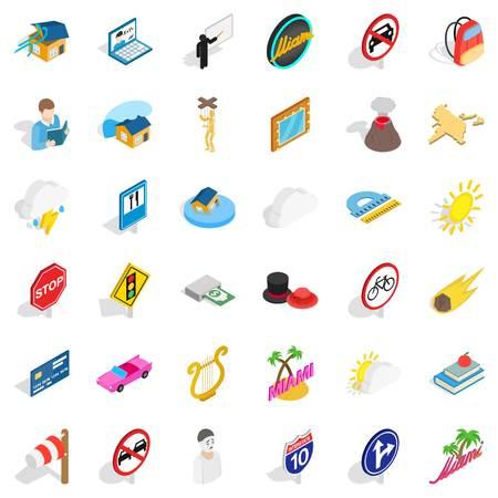 palm reading: Umbrella icons set, isometric style