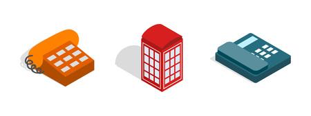 Telephone icon set, isometric style