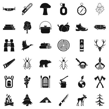 Camping icons set, simple style