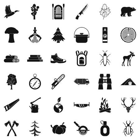 Fir tree icons set, simple style