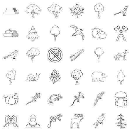 Travel icons set, outline style Illustration