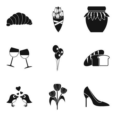 Date icons set, simple style