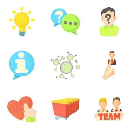 Teammate icons set, cartoon style Illustration