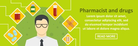 Pharmacist and drugs banner horizontal concept
