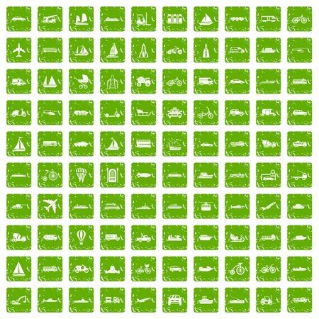 100 transportation icons set grunge green