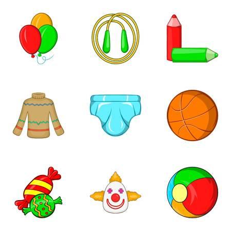 Clown performance icons set, cartoon style