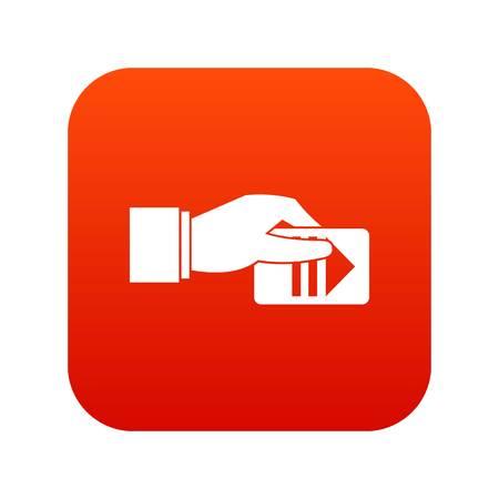 Mano con icona di ticket di parcheggio digitale rosso