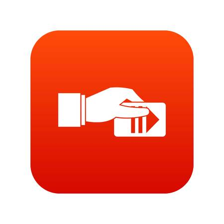 Hand with parking ticket icon digital red Illustration