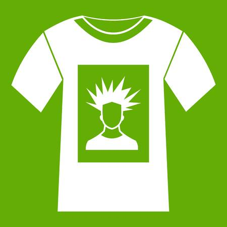 White shirt with print of man portrait icon green Illustration