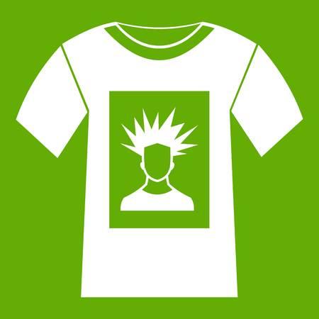 offset printer: White shirt with print of man portrait icon green Illustration