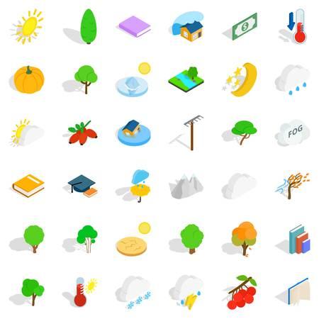 Autumn forest icons set, isometric style Illustration