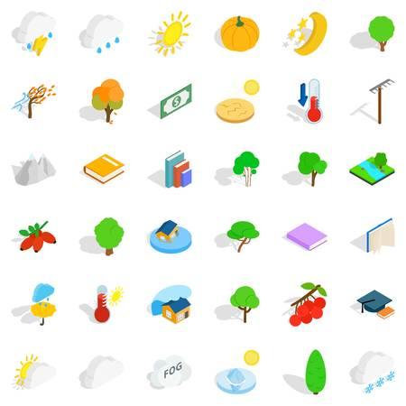 Lightning icons set, isometric style
