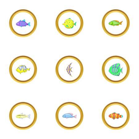 clown fish: Ocean fish icons set, cartoon style