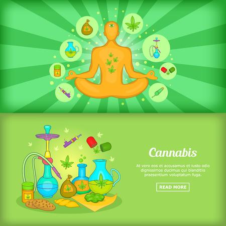 Cannabis banner set template, cartoon style Illustration