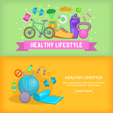 Fitness banner set template, cartoon style Illustration