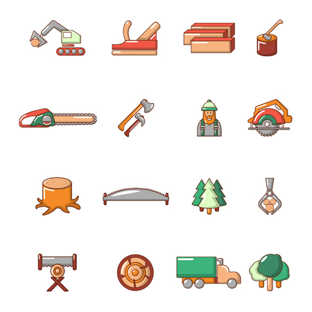 Timber industry icons set. Cartoon illustration of 16 timber industry vector icons for web