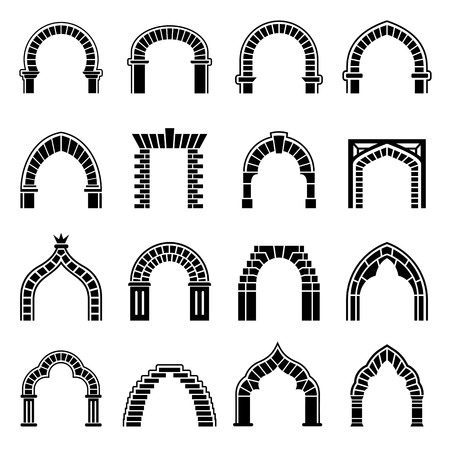 Arch types icons set. Simple illustration of 16 arch types vector icons for web Çizim