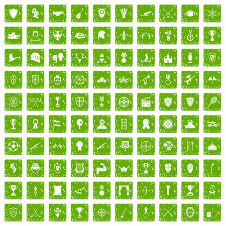 100 trophy and awards icons set in grunge style green color isolated on white background vector illustration