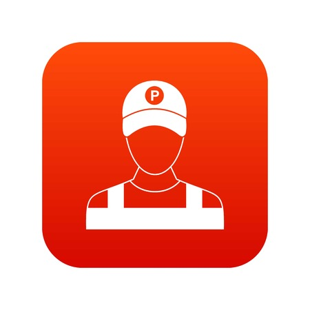 valet: Parking attendant icon digital red for any design isolated on white vector illustration Illustration