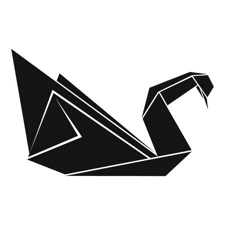 Origami swan icon, simple black style