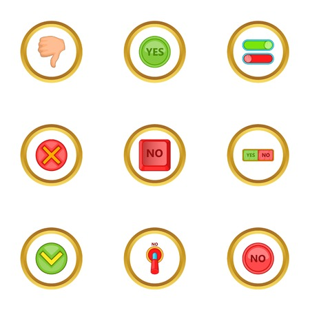 Right and wrong sign icons set, cartoon style