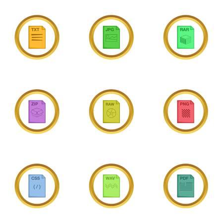 File type icons set, cartoon style Illustration