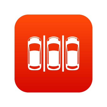 Car parking icon digital red
