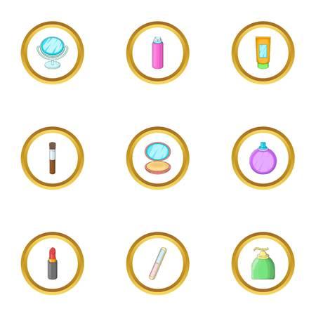 Perfume icons set, cartoon style. Illustration