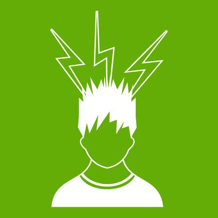 Lightning above the head of man icon white isolated on green background. Vector illustration Illustration