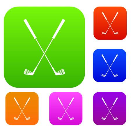 Deux clubs de golf définissent la couleur de l'icône dans un style plat isolé sur blanc. Collection chante illustration vectorielle