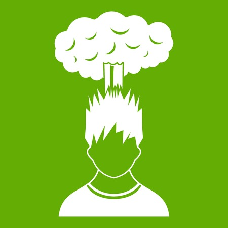 Man with red cloud over head icon white isolated on green background. Vector illustration Illustration