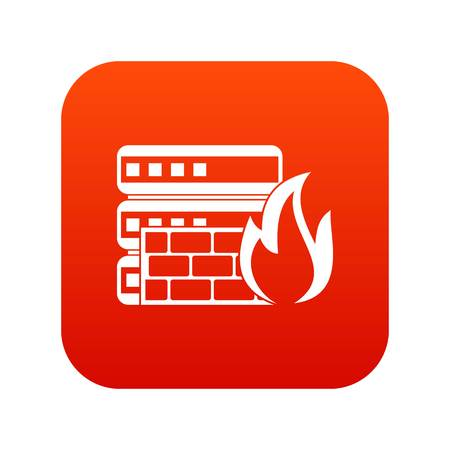 Database and firewall icon digital red for any design isolated on white vector illustration