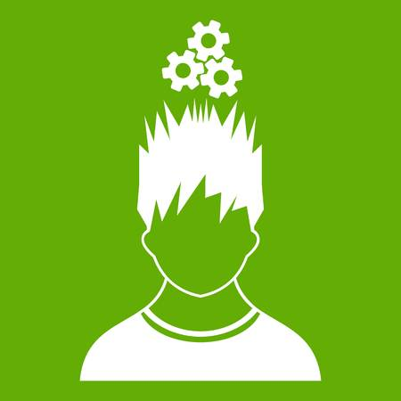 thinking machines: Man with metal gears over head icon white isolated on green background. Vector illustration Illustration