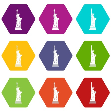 Statue of liberty icon set many color hexahedron isolated on white vector illustration Çizim