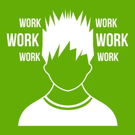 work life balance: Man and work words icon white isolated on green background. Vector illustration Illustration