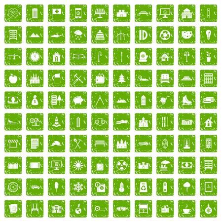 100 villa icons set grunge green Ilustração