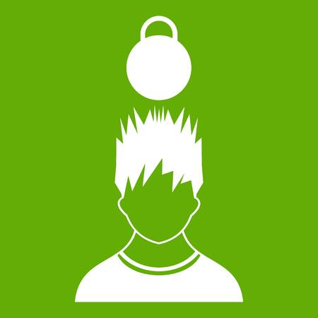Man with the weight over head icon green