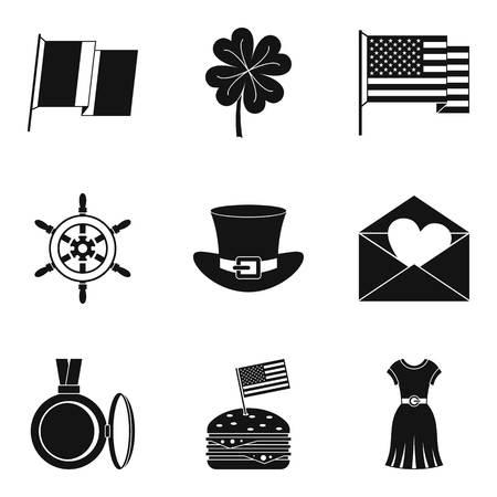Conjunto de íconos de misceláneas, estilo simple sobre fondo plano.