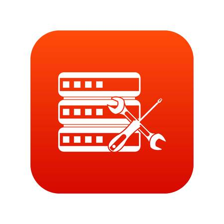 Database with screwdriver and spanner icon digital red
