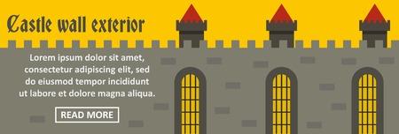 drawbridge: A Castle wall exterior banner horizontal concept