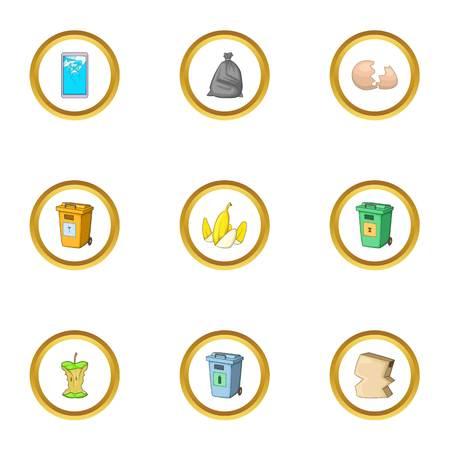 Trash icons set in cartoon style illustration. Illustration