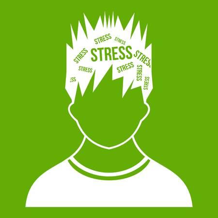 Word stress in het hoofd van de mens pictogram geïsoleerd op groene achtergrond.