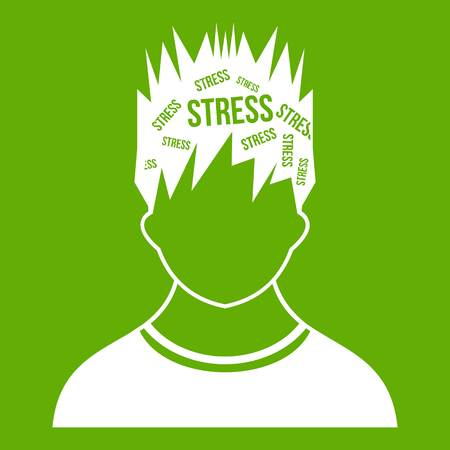 Word stress in the head of man icon isolated on green background.