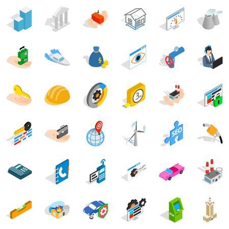 Trust icons set, isometric style