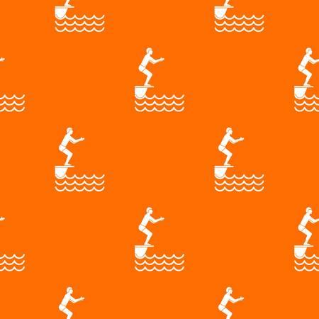 Man standing on springboard pattern seamless Illustration