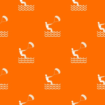 kiteboarding: Man takes part at kitesurfing pattern repeat seamless in orange color for any design. Vector geometric illustration