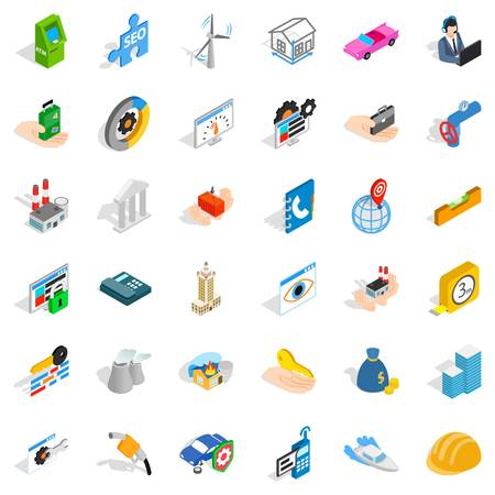 Worry icons set. Isometric style of 36 worry vector icons for web isolated on white background
