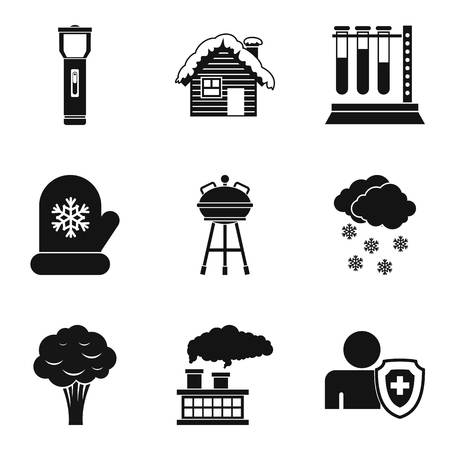 Polluted city icons set. Simple set of 9 polluted city vector icons for web isolated on white background