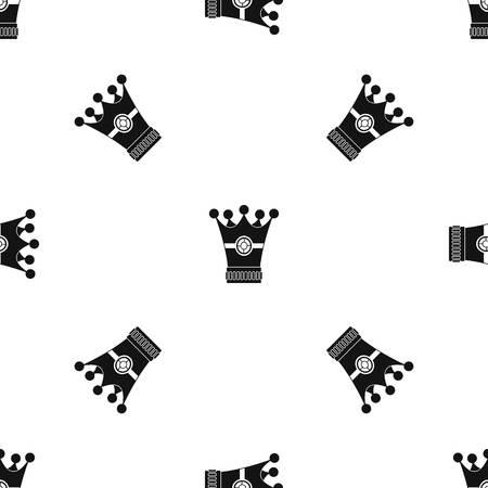 royal person: Medieval crown pattern seamless black Illustration